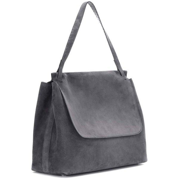 The Row Top Handle 14 Suede Shoulder Bag ($2,440) ❤ liked on Polyvore featuring bags, handbags, shoulder bags, grey suede handbag, grey shoulder bag, suede purse, shoulder hand bags and gray handbags