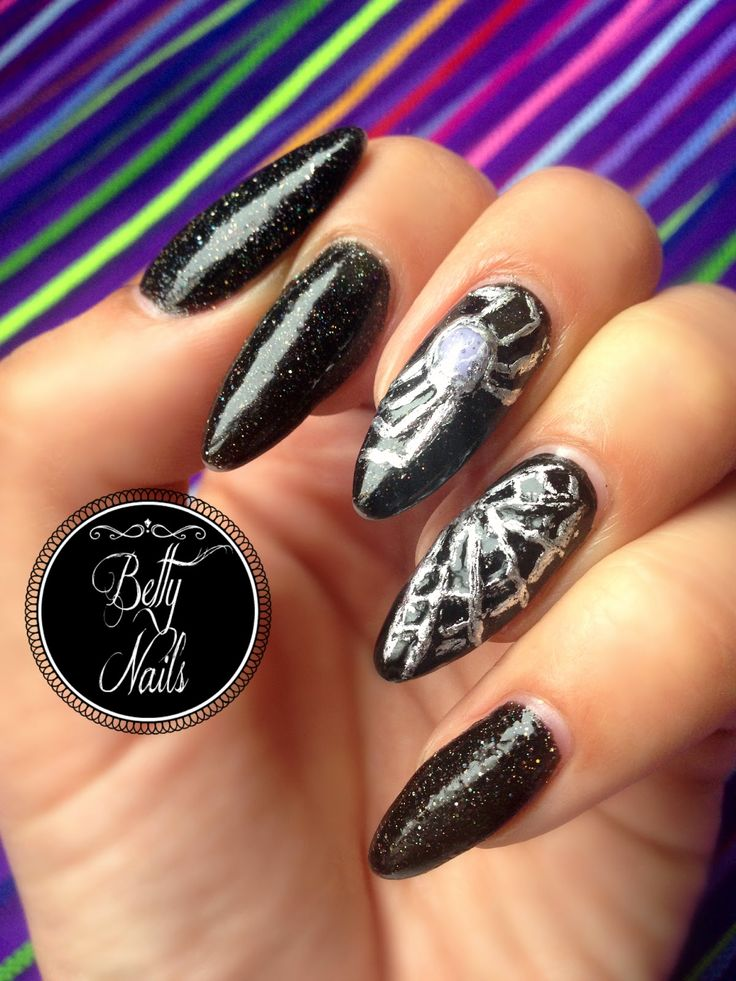 Betty Nails: Halloween Nails #2 - Spider Web Nails - Crazy Polish Lady