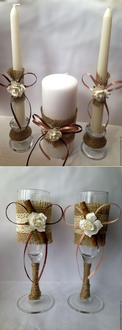 Купить Свадебные бокалы / свечи в стиле рустик - бежевый, коричневый, рустик, рустикальный стиль