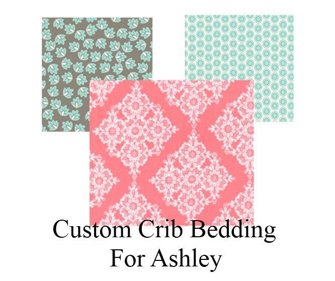 Custom Coral & Seafoam Crib Bedding Set for Ashley Harris