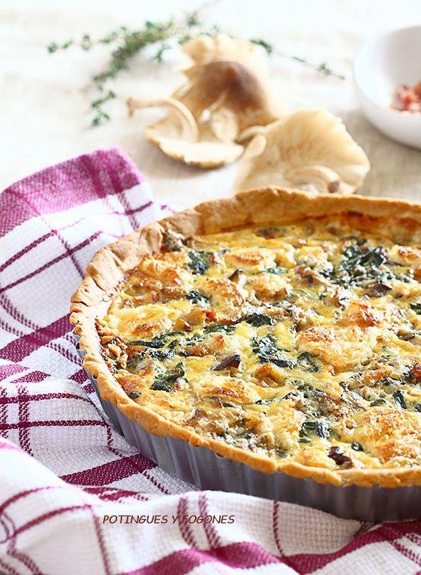 Potingues y fogones tartaleta de espinacas setas y queso for Canape quiche recipe