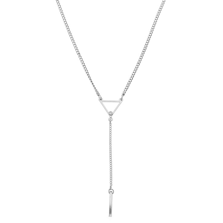 Prism Necklace in silver - available in gold and silver. $24.  #ynecklace #necklace #trianglenecklace #foxyoriginals #silverjewelry