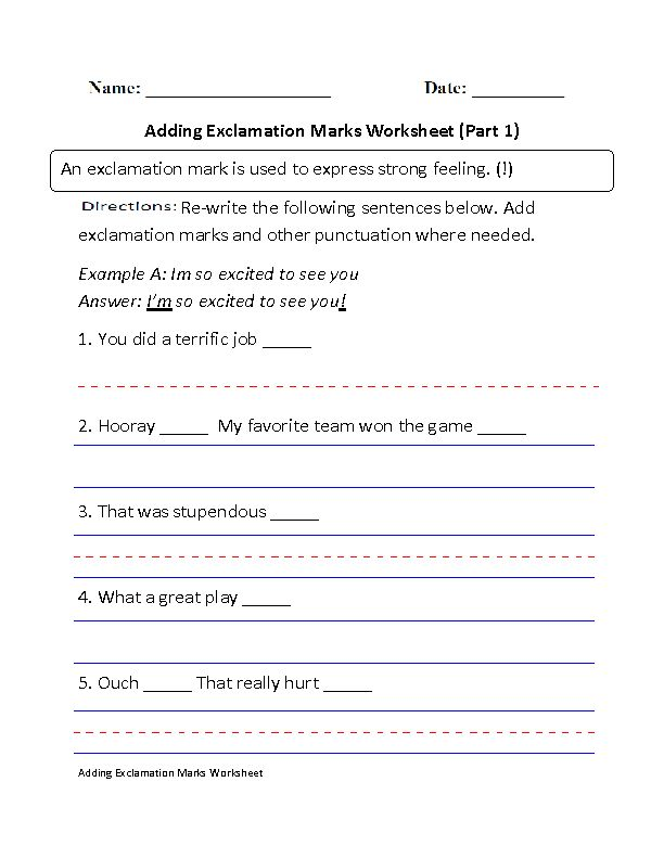 Adding Exclamation Marks Worksheet