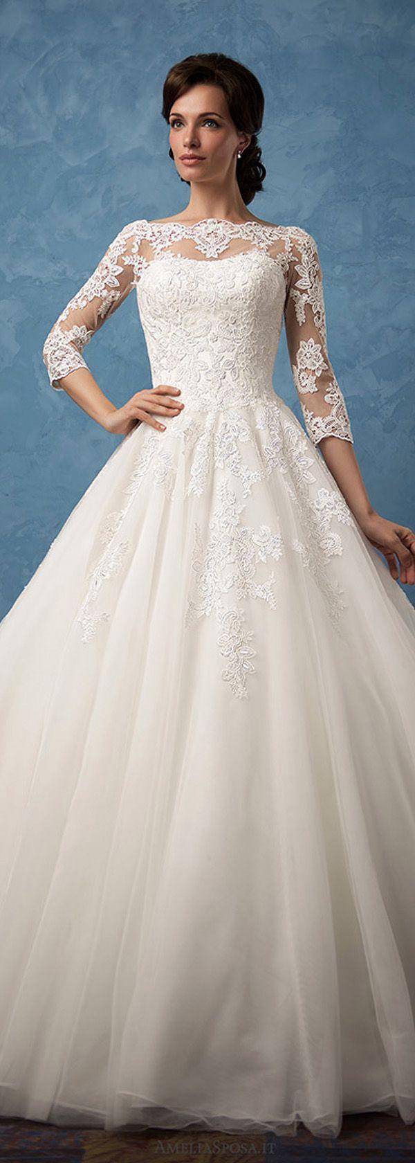 Charming Tulle & Satin Bateau Neckline A-Line Wedding Dresses With Lace Appliques