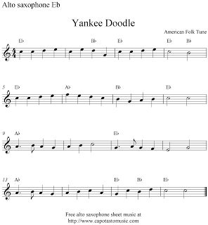 Alto Sax Easy Songs | ... Music Scores: Yankee Doodle, free alto saxophone sheet music notes