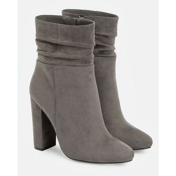 Justfab Booties Malvina ($40) ❤ liked on Polyvore featuring shoes, boots, ankle booties, grey, justfab boots, high heel platform boots, gray slouch boots, high heel boots and platform boots