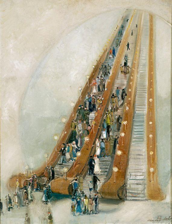 Александр Лабас (1900-1983)  Метро, 1935  Холст, масло. 83 х 63,5 см  Государственная Третьяковская галерея