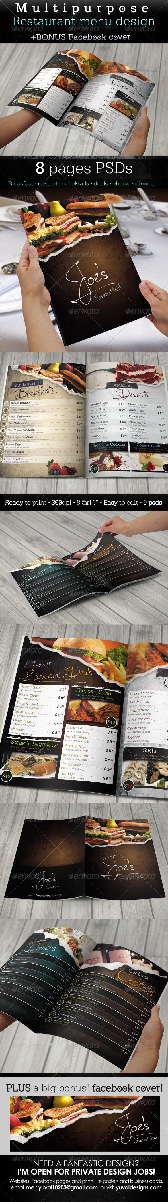 Multipurpose Restaurant Menu Template #GraphicRiver n use as a template in only one page y size • print ready with bleeds • VERY EASY to edit, the file includes help.