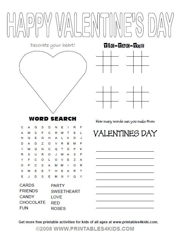 Valentines Day Party Activity Sheet : Printables for Kids – free word search puzzles, coloring pages, and other activities