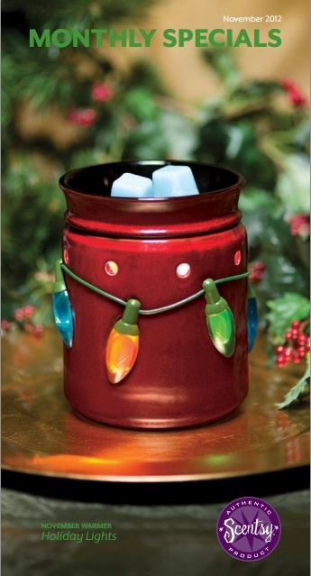 Holiday Lights - November 2012 Scentsy Warmer of the month. You wait in the dark with anticipation - and with the flick of a switch, lights in blue, green and yellow sparkle to life! Bring the cheer and anticipation of the season home with Holiday Lights, a homey warmer spangled with old-fashion Christmas bulbs. Each light glows from within when the warmer is lit, contrasting the deep red finish.