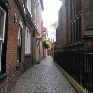 """Leicester - cobbled """"jitty"""" next to Leicester Cathedral (on the right of the picture)"""