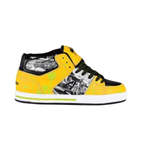 Womens Globe Mace Hi Skate Shoe - Black/Yellow/Lime