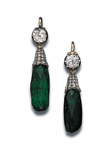 A PAIR OF ANTIQUE EMERALD AND DIAMOND EAR-PENDANTS Each set with a briolette-cut emerald drop with a rose-cut diamond cap suspended from a collet top, circa 1860