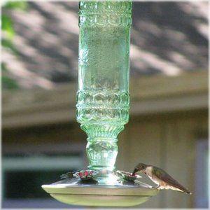 Avant Garden Antique Green Glass Hummingbird Feeder