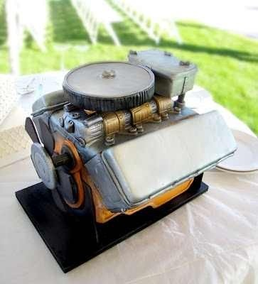 Big Block engine grooms cake!! Bernard wants this soo bad!! Lol