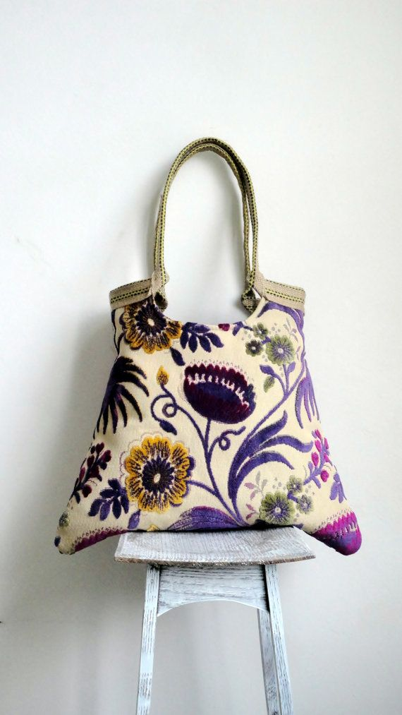 Floral tapestry tote bag  with jutesummer fashion by madebynanna, $69.00