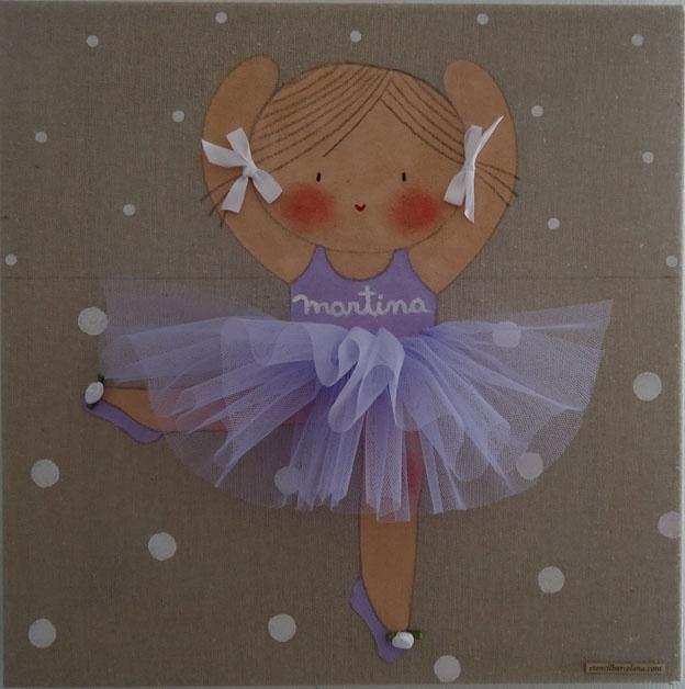 Cuadro infantil personalizado bailarina azul