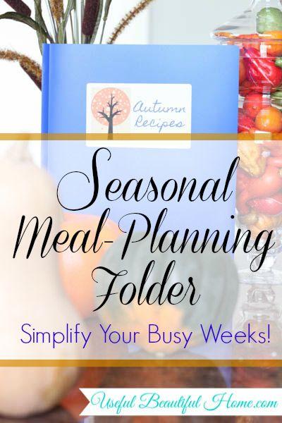 Seasonal menu planning folder to simplify busy weeks at I'm an Organizing Junkie blog