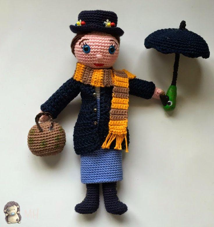 Patrón gratis: Mary Poppins amigurumi  #patronGRATIS #crochet #amigurumi