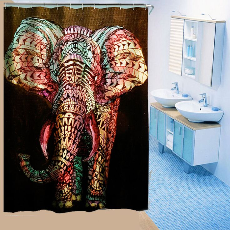 Novel Elephant Printing Shower Curtain Waterproof Mildewproof Polyester Fabric Bath Curtains Bathroom Product With 12 Hooks