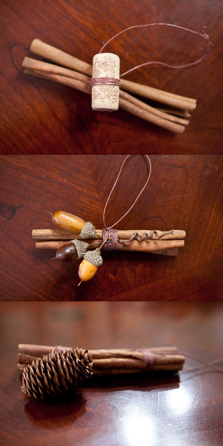 I made these out of cinnamon sticks and some corks and for How to make acorn ornaments