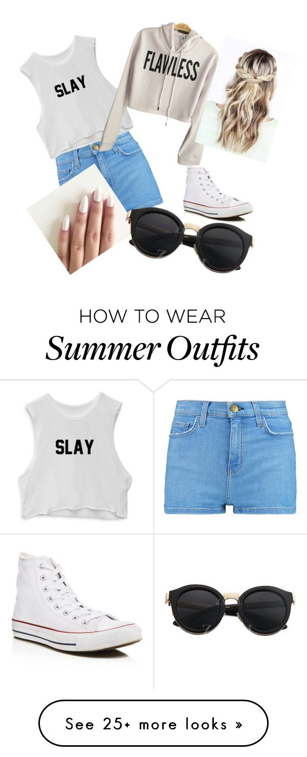 Casual Summer day outfit by harrietwarren on Polyvore featuring Current/Elliott and Converse
