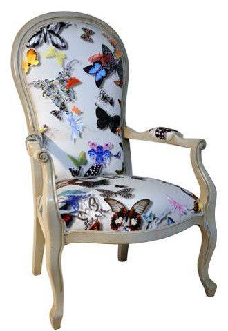 tissu ameublement buttefly parade de christian lacroix pour fauteuil Voltaire