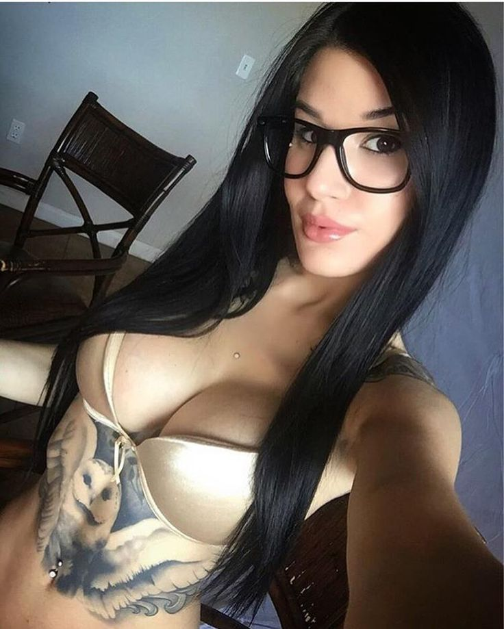 Girl glasses with selfie topless