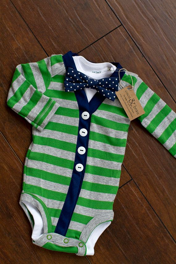 Baby Boy Gray/Green and Navy Striped Cardigan by cocoandbeau...lots of cute sweater sets for baby boy!