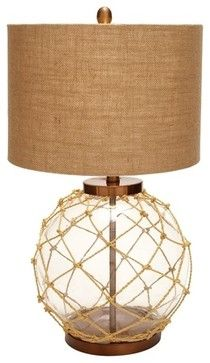 Nautical Rope Table Lamp with Burlap Drum Shade - 97323 beach-style-table-lamps