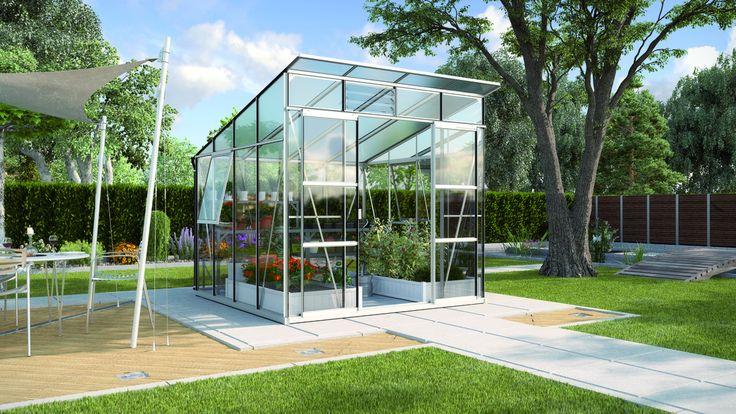 7,6 m2 Vitavia Freya drivhus med smart nyt tagdesign Vitavias nye model Freya er et fritstående drivhus med pulttag (tag med ensidig hældning/halvtag). Freya k
