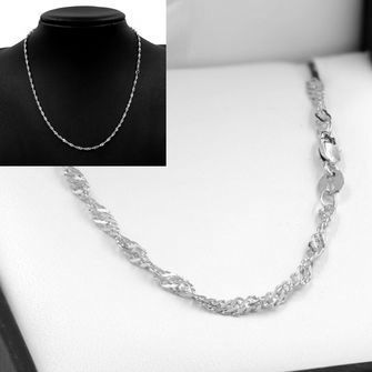 50cm Sterling Silver Singapore Rope Chain Necklace - SN-SN40