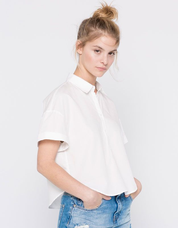 Pull&Bear - mujer - blusas y camisas - camisa popelín manga corta - blanco - 09470340-V2016