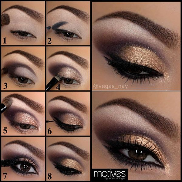 Dramatic gold smoky eye.