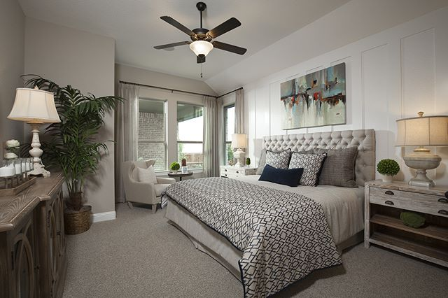 The master bedroom in our model home in Viridian. | The Celestial (2679 Plan) - posted by Plantation Homes https://www.instagram.com/plantationhomes - See more Luxury Real Estate photos from Local Realtors at https://LocalRealtors.com/stream