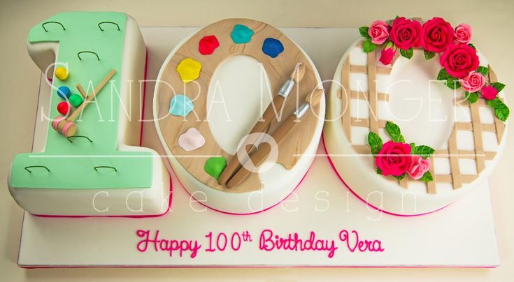 100th Birthday Cake, Showing Croquet, a Paint Palette and Rose Trellis