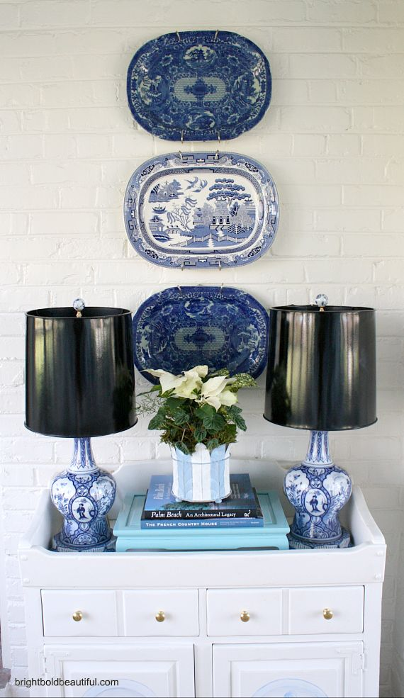 Decorating with blue and white plates