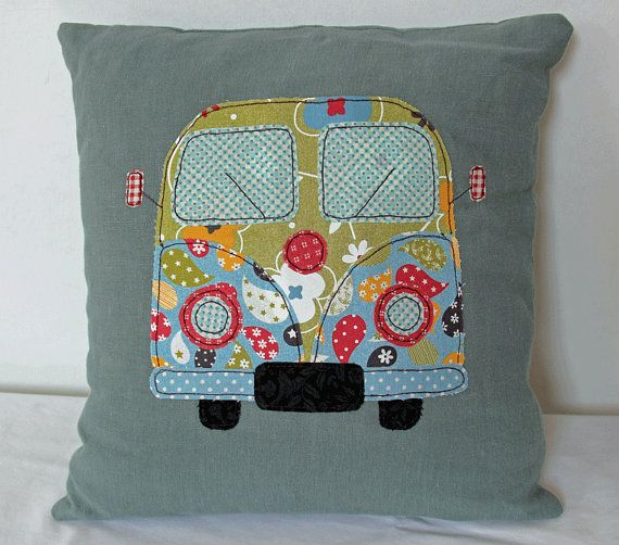 Campervan Cushion Pillow Cover by BirdsongStitches on Etsy, £18.00