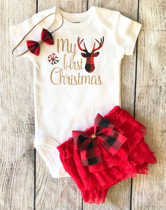 585350d6643f Personalized First Christmas Outfit for baby girl 1st Christmas Buffalo  Plaid Deer Outfit - Woodland Christmas baby girl Red bloomers Set