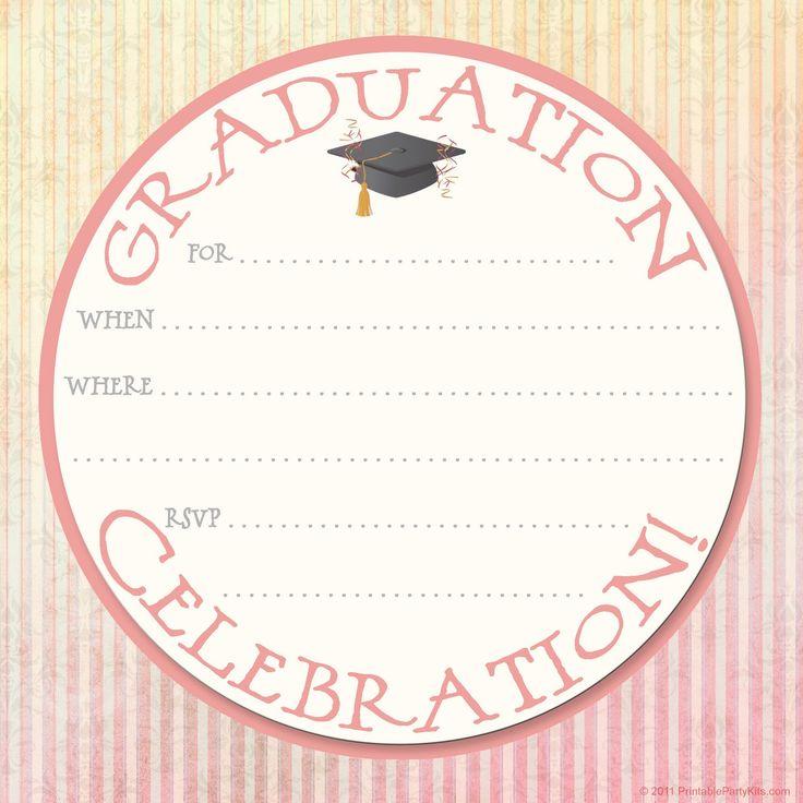 The 25 best Free printable graduation invitations ideas on – Free Printable Party Invitation Template