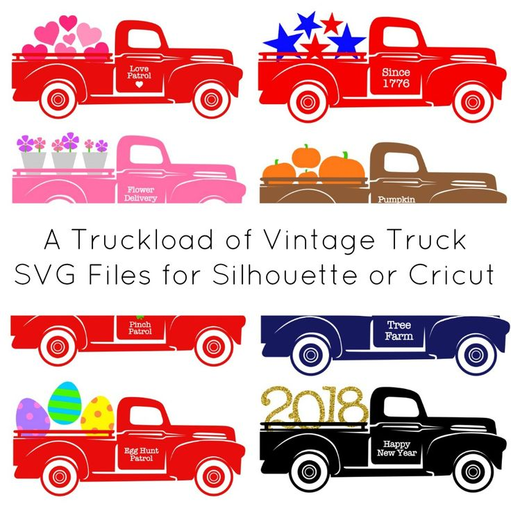 Set of 8 free, commercial use vintage truck SVG cut files for Silhouette Cameo or Cricut Explore.