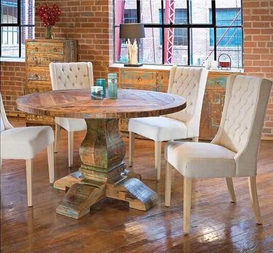 Teak table & linen chairs - Casual Dining - Stacy Furniture & Accessories - Dallas / Fort Worth Furniture, Grapevine, Allen, Plano, TX