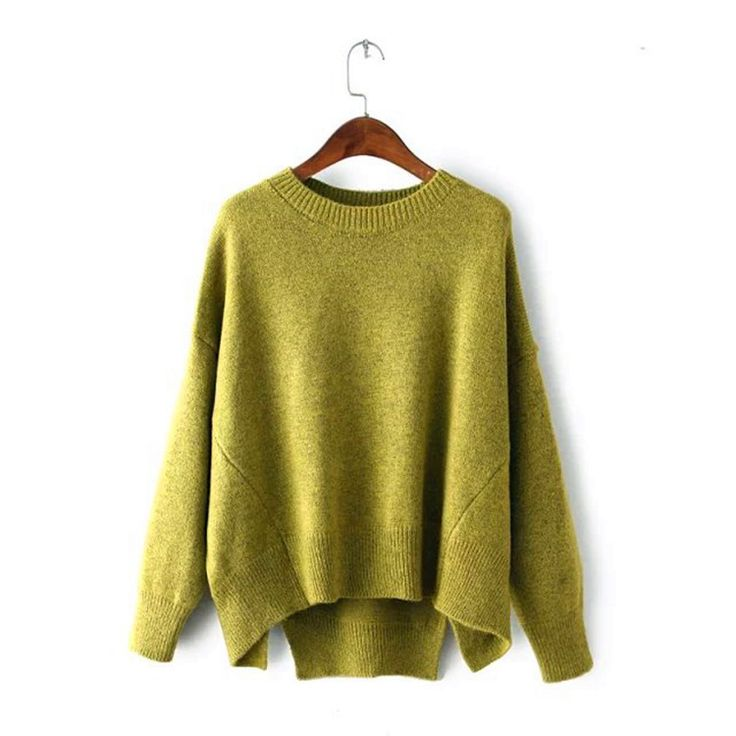 Batwing Pure Color Pullover Loose Knit Sweater