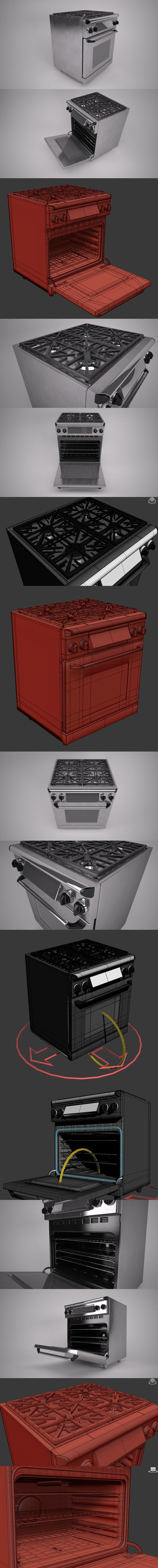 30 inch gas range cooker. 3D Furniture