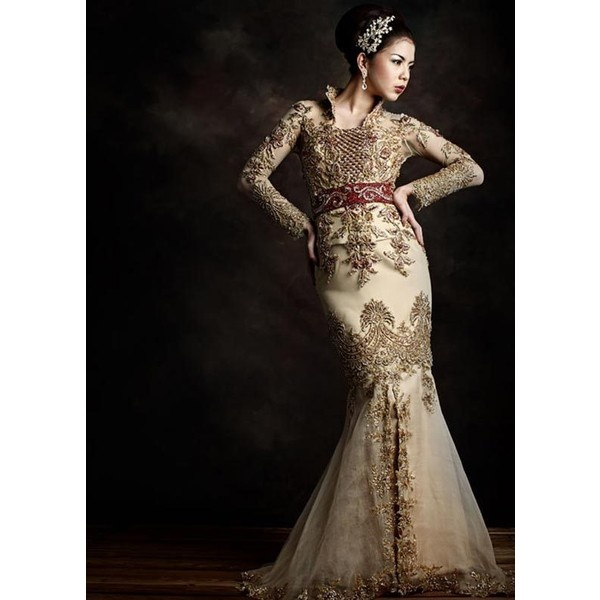 Lace Wedding Dresses with Traditional Kebaya Style via Polyvore