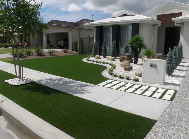 Synthetic grass front yard designs landscape yards for Backyard design ideas australia