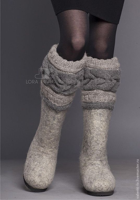 """Купить """"Classic"""" с серой косой - зимняя обувь, дизайнерские валенки, валенки, теплая обувь, подарок"""