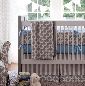 Gray Geometric Baby Blanket contemporary baby bedding - love the idea of having a neutral base and then adding in a color for a boy or girl