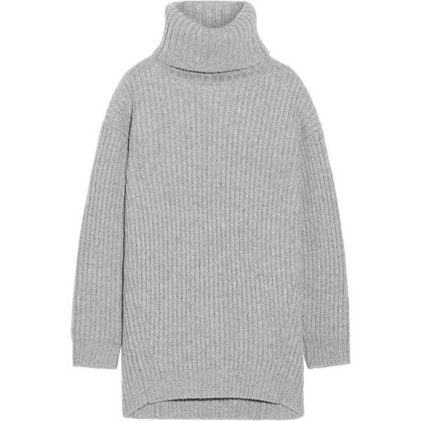 Acne Studios Disa oversized ribbed wool turtleneck sweater ($470) ❤ liked on Polyvore featuring tops, sweaters, acne, grey, grey wool sweater, ribbed sweater, woolen sweater, turtle neck sweater and wool turtleneck sweater