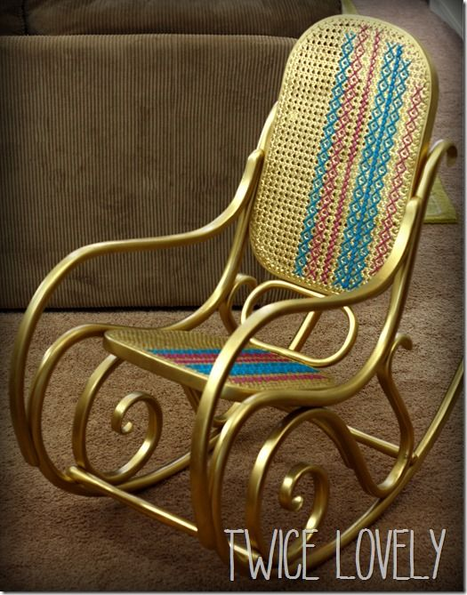 Gilded Glam Bentwood Rocker with Cross Stitching from Twice Lovely